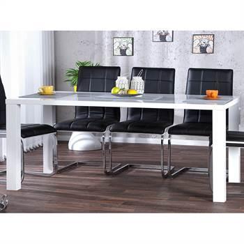"Dining table ""MALMÖ"" | 63"", MDF, white highgloss | desk"