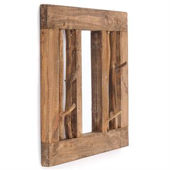 "Wardrobe mirror ""STOCKHOLM"" | 70x60 cm, recycled wood | coat rack"