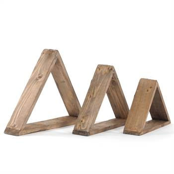 "3 Pcs Wall shelves ""TRIANGLE"" | recycled wood | decoration shelf set"