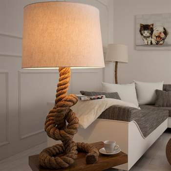 "Stehleuchte ""TAU"" | 85 cm, naturfarben | Lampe mit echtem Tau"