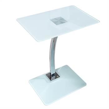 """Beistelltisch """"JAMES""""   weiß, Glas, 58 cm   Laptop, Tablett Tisch"""