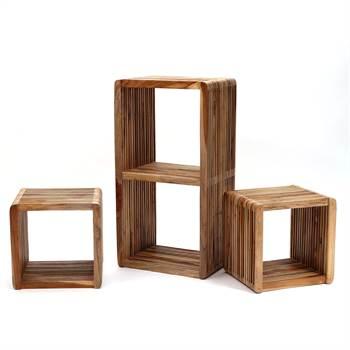 """3er Cube Set """"MIKADO""""   Kare Design 80859   Teakholz"""