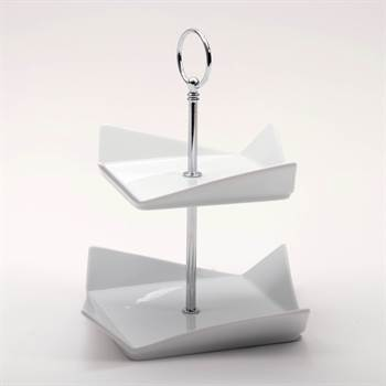 "Moderne Etagere ""CANDY"" | Porzellan, weiß, 23,5 cm | eckig, 2 Etagen"