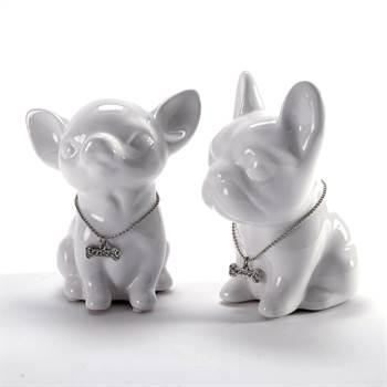 "Hunde Spardosen Set ""DIVA & PINTO"" | weiß, 13 cm, Keramik | Welpen"