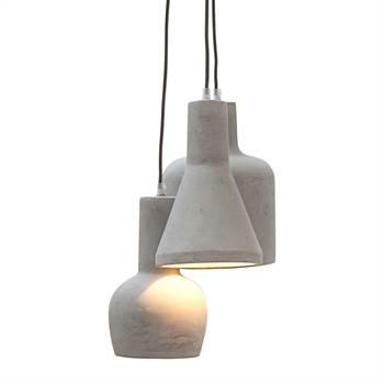 """Design Hängeleuchte """"BETON TRIO""""   grau, 150 cm   Hängelampe"""