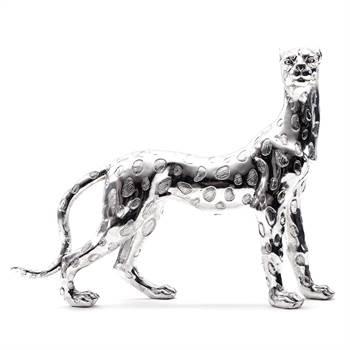 "Deko Skulptur Gepard ""RAISA"" | silber, 41x50x12,5 cm | Wildkatze"