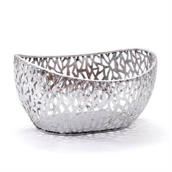"Deko Schale ""PLATA"" | antik-silber, 24 cm, Metall |  Korb, Obstkorb"