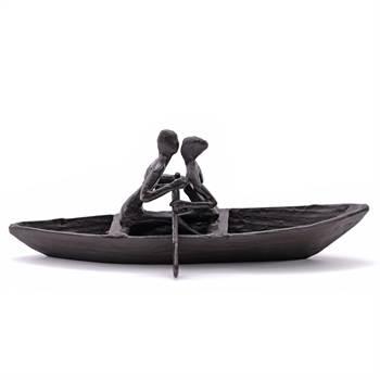 "Deko Skulptur ""PADDELTOUR"" | braun, 26x12x10 cm, Eisen brüniert | Boot"