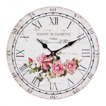 "Nostalgie Wanduhr ""ROSE"" | 28 cm, Rosenprint | Landhausstil Uhr"