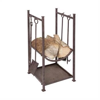 Kaminbesteck Set | Feuerholz Korb | 5 tlg, Eisen, antik-braun