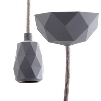 "DIY Hängelampe ""TOUCH"" | 3m Textilkabel, dunkelgrau | Silikon Lampe"