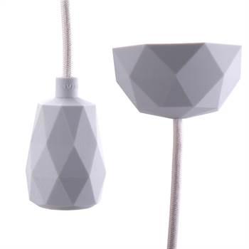 "DIY Hängelampe ""TOUCH"" | 3m Textilkabel, hellgrau | Silikon Lampe"