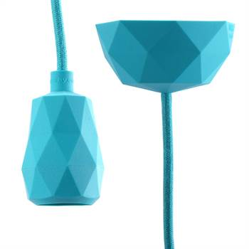 "DIY Hängelampe ""TOUCH""   3m Textilkabel, türkis   Silikon Lampe"