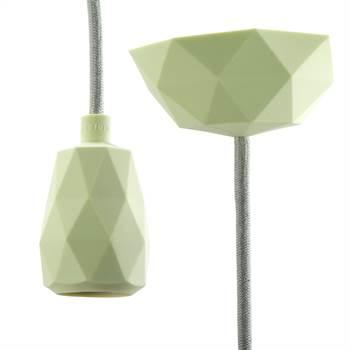 "DIY Hängelampe ""TOUCH"" | 3m Textilkabel, hellgrün | Silikon Lampe"