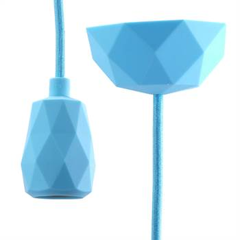 "DIY Hängelampe ""TOUCH"" | 3m Textilkabel, hellblau | Silikon Lampe"