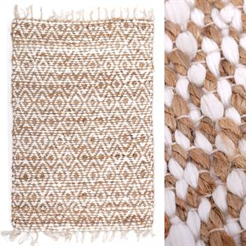 "Rag rug ""NAHLA"" | cotton, nature, 24x35"" | carpet"