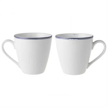 2 Becher JACKIES BAY | 10 cm, Porzellan, weiß blau | Kaffeetassen