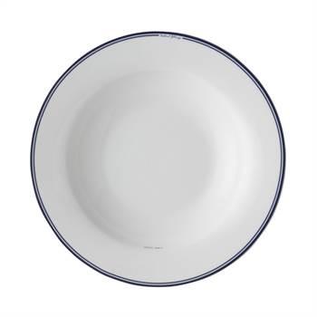 4 tiefe Teller JACKIES BAY | 22cm, Porzellan, weiß blau