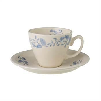 2 Tassen mit Untertassen ROYAL BOCH FLEURS BLEUES | weiß blau