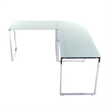 "Corner desk ""METROPOL"" | 63""/71"", white, metal, glass | office table"