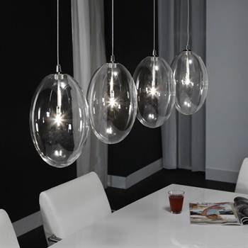 "Hängeleuchte ""STELLA"" | 110cm, 4xG4, Klarglas | Pendel Lampe"