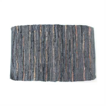 "Flickenteppich ""EMINE"" | Leder, grau/braun, 60x90 cm | Teppich"