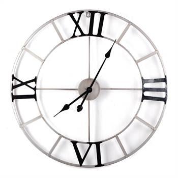 """Wanduhr """"ROMAN""""   Metall, Ø 64 cm, antik silber   Design Uhr"""