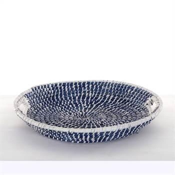 "Deko Schale ""BORKUM"" | Seegras, Ø 50cm, blau, weiß | Dekokorb"