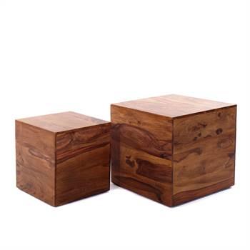"2 Pcs side table ""VILLACH"" | Sheesham massive, 16/12"" | cube"