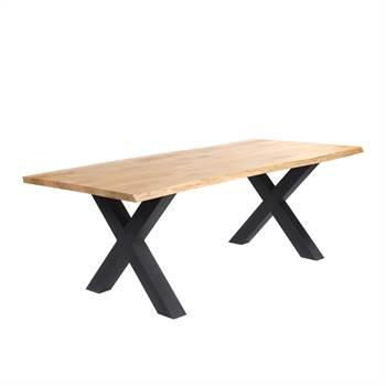 Massivholz Esstisch EICHE BAUMKANTE | geölt, X-Profil, 220x100 cm
