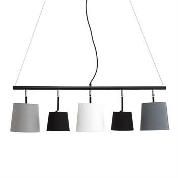 """Hängeleuchte """"LIGNE""""   5 Schirme, Leinen, 100 cm   Wohnzimmerlampe"""