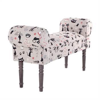 "Design seating bench ""CAT"" | 39.5"", multicolourecd | vanity bench"