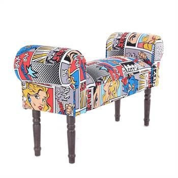 "Seating bench ""COMIC SUPERHERO ROY"" | 39.5"", Pop Art | vanity bench"
