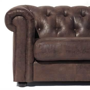 "Sofa ""CLASSY CHESTERFIELD BURNT VINTAGE"" 3er | Stoff | Dreisitzer"
