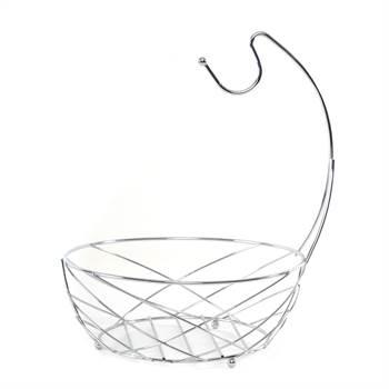 "METAL FRUIT BASKET ""FRESH"" | Ø 25 cm, with banana hook | fruit bowl"