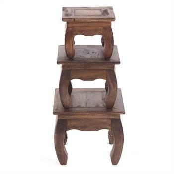 "3pcs Opium table set ""SHISHA""   brown   side table"