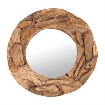"""Round mirror """"TEAK 60""""   Teak wood, Ø 60 cm   wall mirror"""