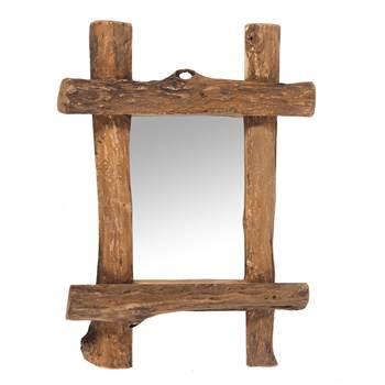 "Mirror ""VINTAGE TEAK"" | teak wood, 60x45 cm (HxW) | wall mirror"