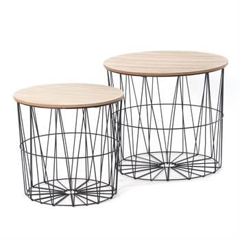 "2 Pcs Side table set ""CONNECT"" | metal, MDF | storage baskets"