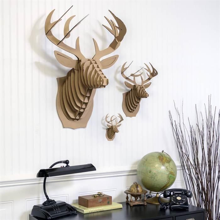 medium cardboard safari 3d tierkopf buck der hirsch deko geweih wandbild troph e ebay. Black Bedroom Furniture Sets. Home Design Ideas