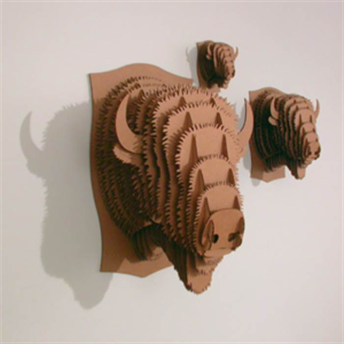 Medium cardboard safari 3d animal head trophy fred the moose brown wall picture ebay - Cardboard moosehead ...