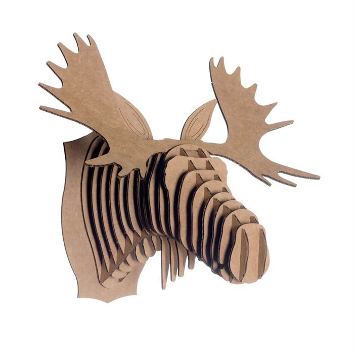 Cardboard safari fred the moose micro brown animal head wall trophy ebay - Cardboard moosehead ...