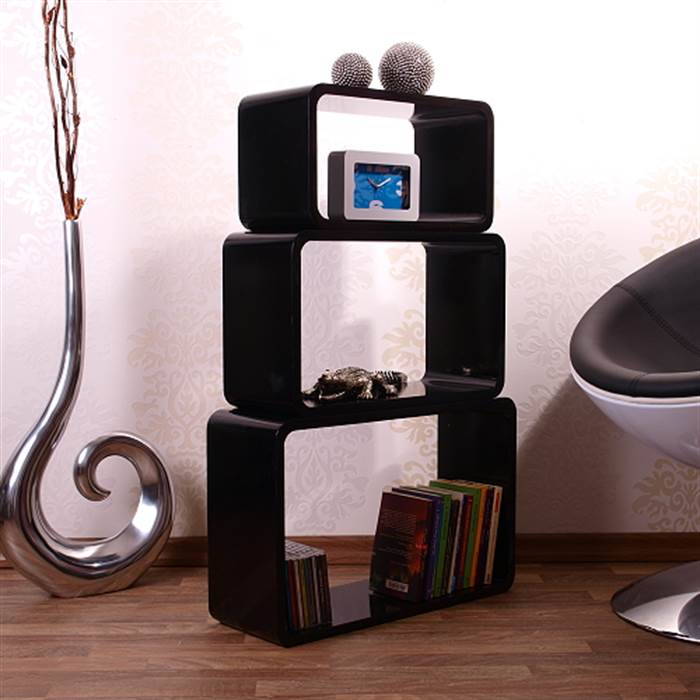 3 teiliges regalset space age cube retro m bel w rfel in oval schwarz ebay. Black Bedroom Furniture Sets. Home Design Ideas