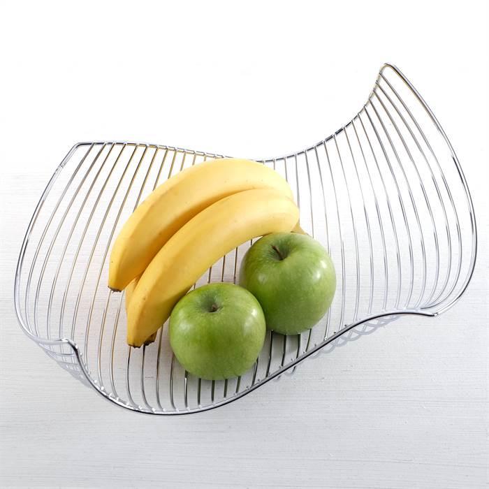 Design Fruit Basket Silver Chromed Wire Bread Bowl