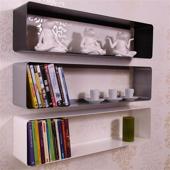 retro design dvd blu ray shelf cube 31 metal silver lounge wall rack ebay. Black Bedroom Furniture Sets. Home Design Ideas