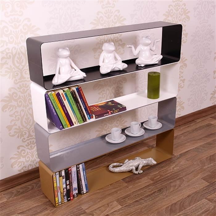 retro design dvd blu ray shelf cube 31 metal silver lounge wall rack ebay. Black Bedroom Furniture Sets. Home Design Ideas