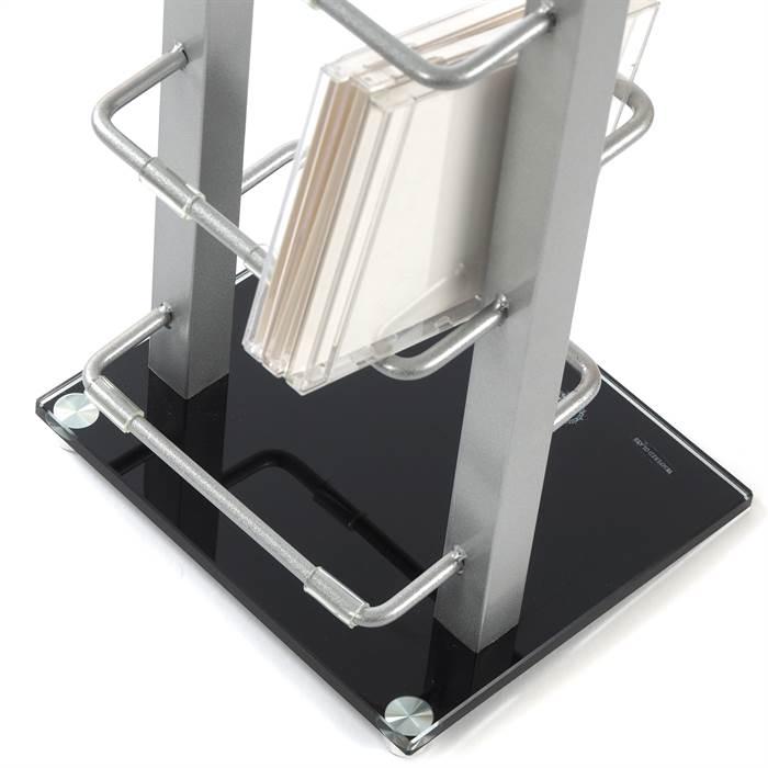 cd st nder tower silber 138x20x15 cm metall cd regal f r bis zu 126 cds ebay. Black Bedroom Furniture Sets. Home Design Ideas