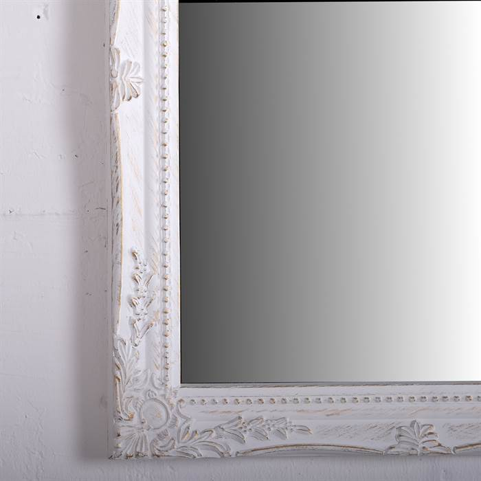 Baroque wall mirror white carved wood antique for White baroque style mirror