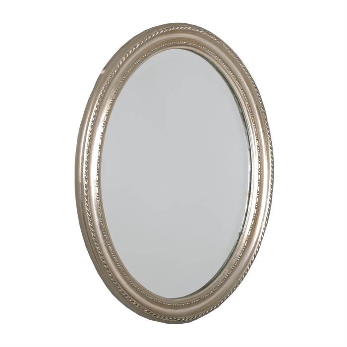 Baroque style oval wall mirror silver 18 5 x14 5 x1 5 for Baroque oval wall mirror