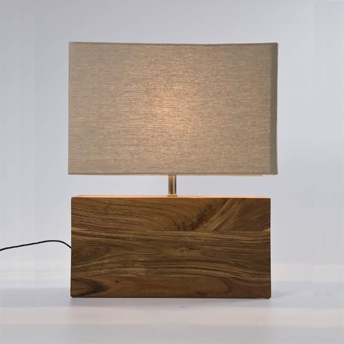 holz tischlampe big nature leuchte mit leinenschirm nachttischlampe creme. Black Bedroom Furniture Sets. Home Design Ideas